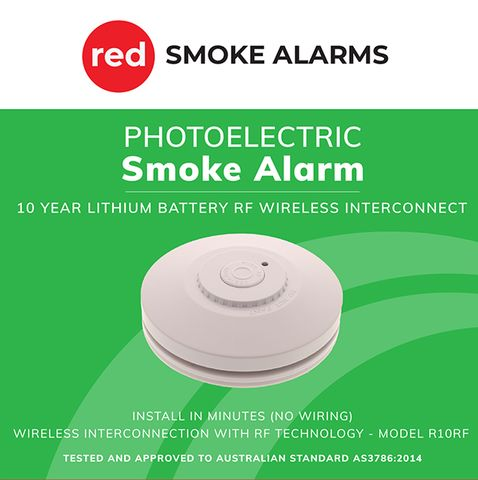 10yr Lithium Batt RF wireless Smoke Alar