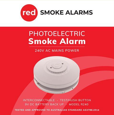 240v Red Smoke Alarm 9v Batt BUp