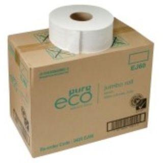 JUMBO ROLL TOILET TISSUE EJ300 PUREECO WHITE 2PLY 300M BOX/8