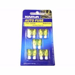 NARVA BLADE FUSE 20AMP PACK 5 BLISTER 52820BL