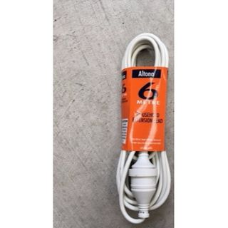 EXTENSION LEAD 10AMP 3-PIN WHITE 6M EA