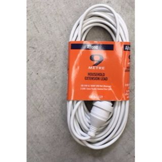 EXTENSION LEAD 10AMP 3-PIN WHITE 9M EA
