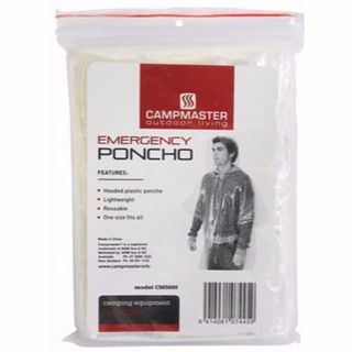 CAMPMASTER EMERGENCY PONCHO WITH HOOD REUSABLE EA
