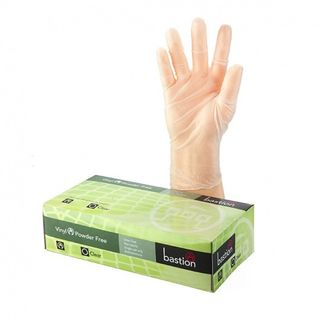 BASTION GLOVES VINYL POWDER FREE CLEAR LARGE PACK/100