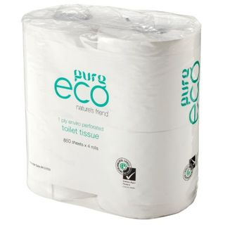 TOILET ROLLS PUREECO 1 PLY 4-PACK (ET850) BOX/48