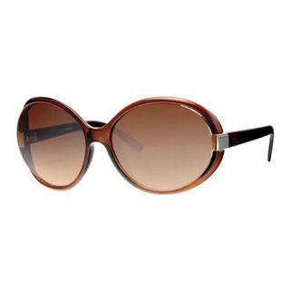 LEVEL ONE SUNGLASSES (#L6180BR) LADIES ROUND BROWN FRAME BROWN LENS EA