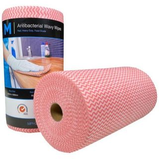 ANTIBACTERIAL WAVY WIPES (MPH27390) RED 300 X 500MM ROLL/90 SHEETS