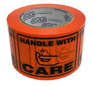 SP500 Handle With Care Label Tape BL/OR 75mm x 50m