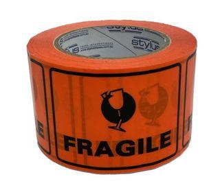SP500 Fragile Label Tape BL/OR 75mmx50m
