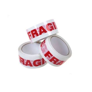 PP Red on White Fragile Tape 48mm x 75m