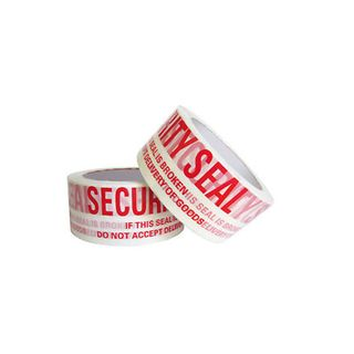 SP250 Security Seal White Tape Red Print 48mm x 66m