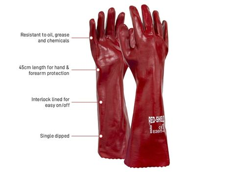 ESKO RED SHIELD PVC DIPPED GLOVES 45CMS