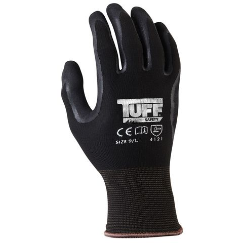TUFF BLACK GRIP GLOVES LARGE 09