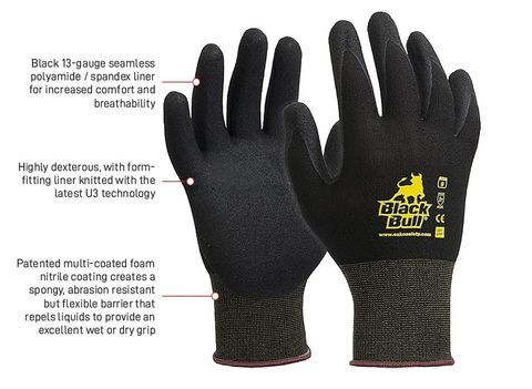 ESKO BLACK BULL HD NITRILE PA LINED GLOVES - XL