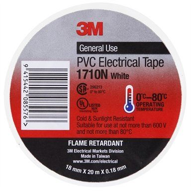 3M PVC ELECTRICAL TAPE 18MM  WHITE