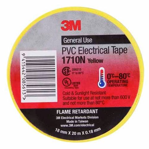 3M PVC ELECTRICAL TAPE 18MM  YELLOW