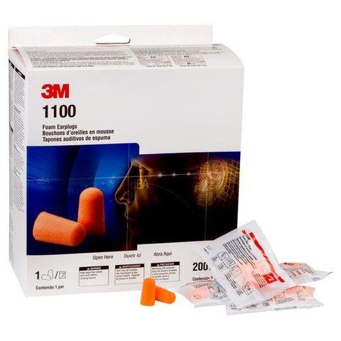 3M 1100 EAR PLUGS - NO CORD - BOX OF 200