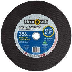 356 x 3.0 x 25 Reinforced Cut Off Wheel (Steel & Stainless) Inox Iron Free FAST CUT