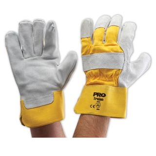 Heavy Duty Leather Gloves Yellow Band