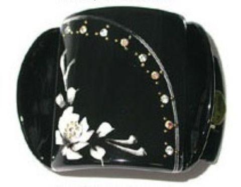 MLISA LRG BLACK/WHITE FLOWER/DIAM