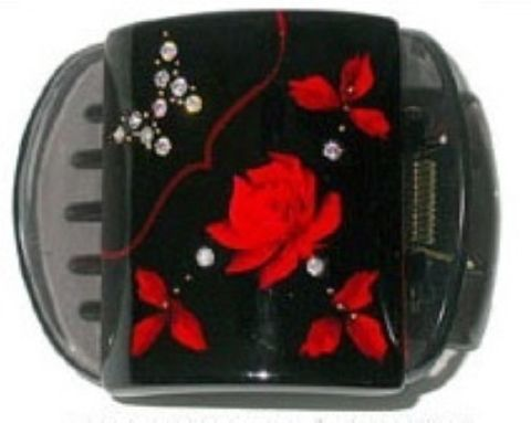 MLISA LRG BLACK /RED ROSE/DIAM