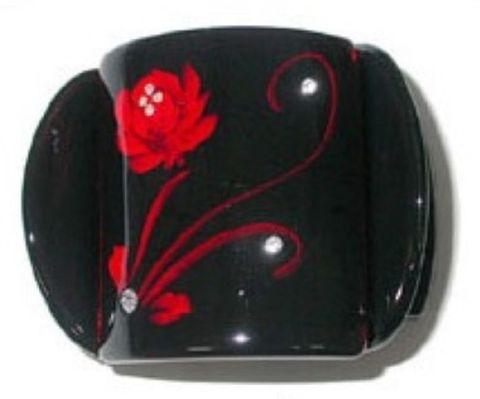 MLISA LRG BLACK/RED FLOWER/DIAM