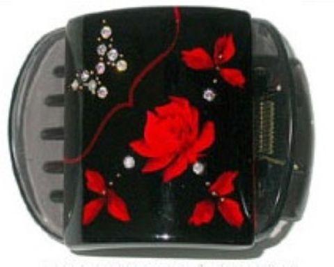 MLISA REG BLACK /RED ROSE/DIAM