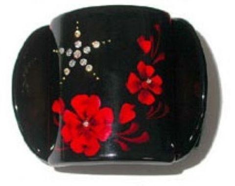 MLISA REG BLACK WITH RED PANSY/DIAM