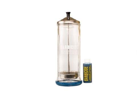 "BARBICIDE GLASS STERILIZING JAR 11.5"""
