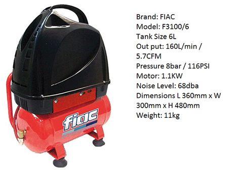 F3100/6 OIL FREE 6L 2 HP COMPRESSOR 5.7CFM 8BAR
