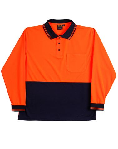 Safety Polo L/S Fluro Org/Navy
