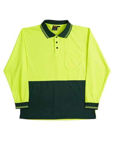 Safety Polo L/S Fluro Ylw/Btl