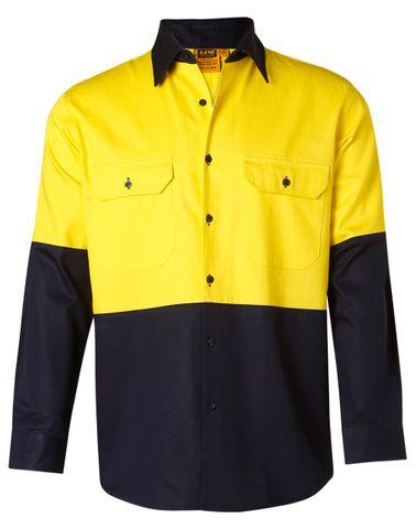 Hi-Vis L/S Safety Shirt Ylw/Nv