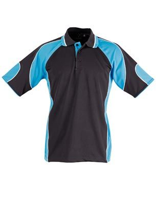 Alliance Mens Polo Blk/Aqu