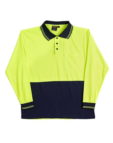 Safety Polo L/S Fluro Ylw/Navy