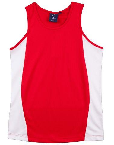 Teammate Ladies Singlet Red/Wh