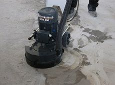 Blackjack asbestos glue removed fast with three phase Schwamborn DSM400 Concrete Floor Grinder
