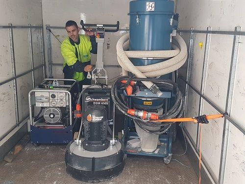 Schwamborn three phase concrete floor grinder and H Class Dustcontrol vacuum setup