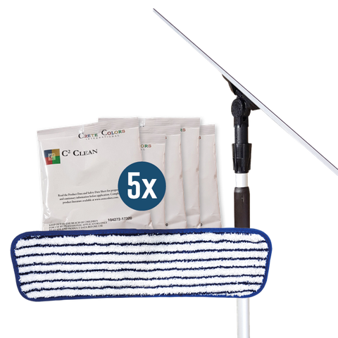 Pyrafloor Handover Cleaning Kit includes: 1x 450mm Frame, 1x 1.8m Adjustable Handle, 1x Microfibre White & Blue Striped Mop Pad and 5x C2 Clean Pack Satchels