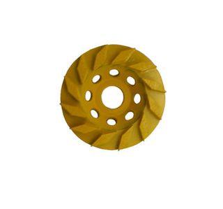 Rhomboid 100mm (4'') Diamond grinding wheel, 30/40 Grit, Medium bond, 12 segment, Yellow
