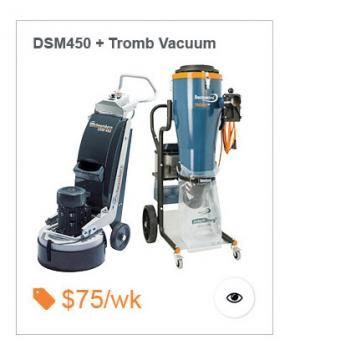 Dustless Single Phase package, includes DSM450 Planetary Concrete floor Grinder and DC400L Dustcontrol Tromb Vacuum