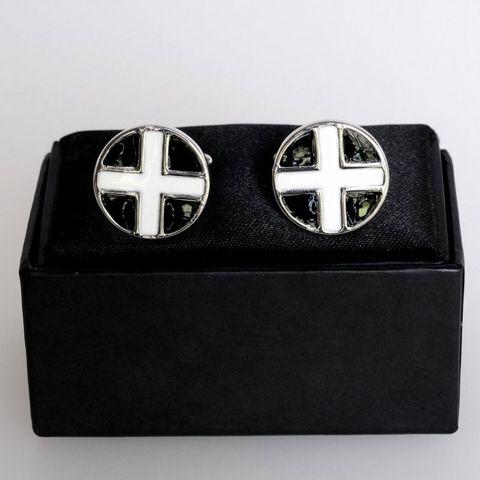#SPEC#Black White Cross Round Cufflinks