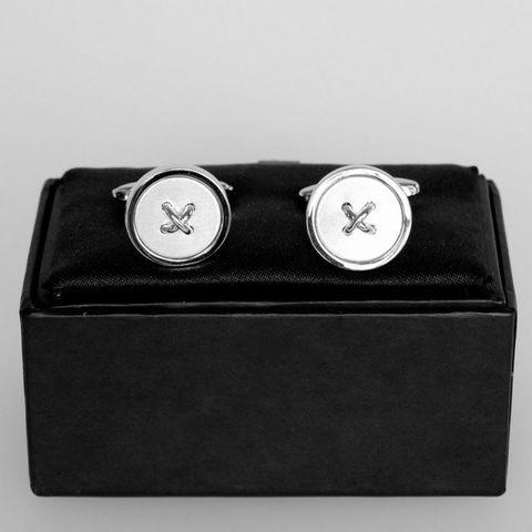 #SPEC#Rhodium Button Cufflinks