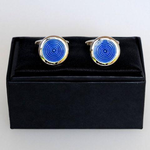 #SPEC#Blue Rhodium Circle Cufflinks