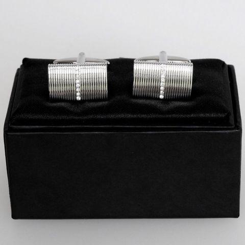 #SPEC#Rhodium Rectangle w Crystal Cufflinks