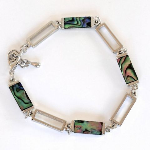 Rectangle paua pieces bracelet