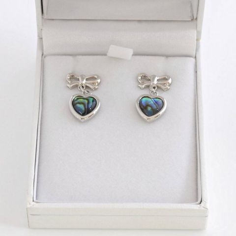 Boxed Paua Gallery Heart with bow on post ER