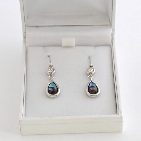 Boxed Paua Gallery Teardrop with crystal HK ER