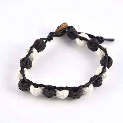 Black & White Lava Rock Bracelet