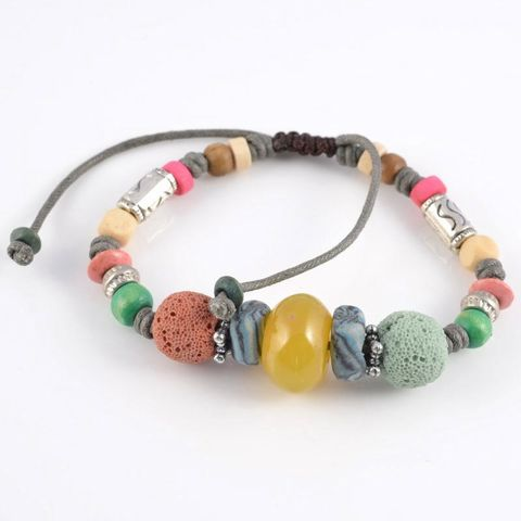 Multi Colour Lava Rock Bracelet